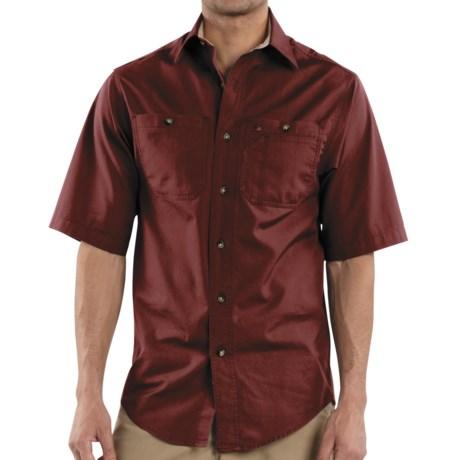 Carhartt Canvas Tradesman Work Shirt - Short Sleeve (For Men) in Dark Red