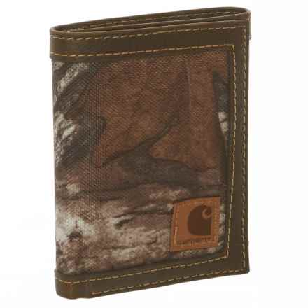 Carhartt Canvas Trifold Wallet - Leather Trim (For Men) in Camo - Closeouts