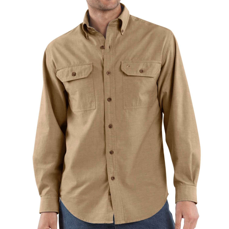 Carhartt chambray work shirt long sleeve for tall men for Tall mens work shirts