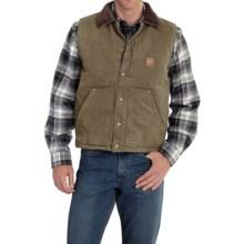 Carhartt Chapman Sandstone Duck Vest - Fleece Lining (For Big and Tall Men) in Light Brown - 2nds