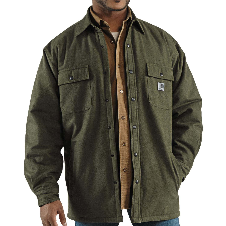 Carhartt Chore Flannel Shirt Jacket Quilt Lined For Men