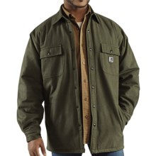 Carhartt Chore Flannel Shirt Jacket - Quilt-Lined (For Tall Men) in Moss - 2nds