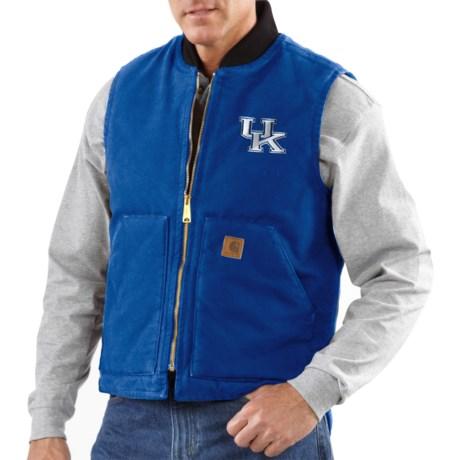 Carhartt Collegiate Sandstone Duck Vest - Insulated, Arctic Quilt Lining (For Men) in Kentucky/Cyan Blue