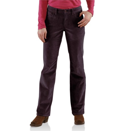Carhartt Comfort Cord Pants -Stretch Fabric (For Women) in Deep Wine