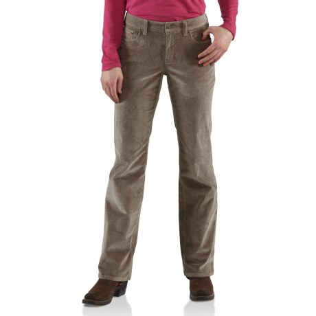 Carhartt Comfort Cord Pants -Stretch Fabric (For Women) in Light Shale Brown