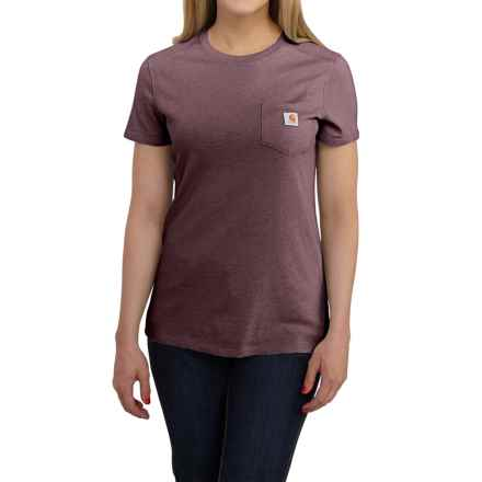 Carhartt Cotton-Blend Single-Pocket T-Shirt - Short Sleeve, Factory Seconds (For Women) in Deep Wine Heather - 2nds