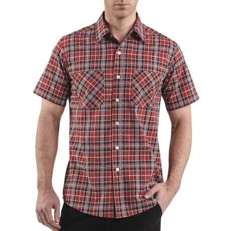 Carhartt Cotton Plaid Shirt - Lightweight, Short Sleeve (For Men) in Dark Tan