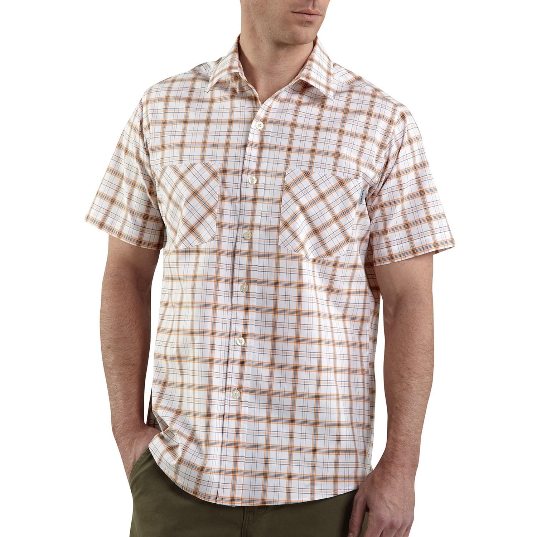 Carhartt cotton plaid shirt lightweight short sleeve for Carhartt men s long sleeve lightweight cotton shirt