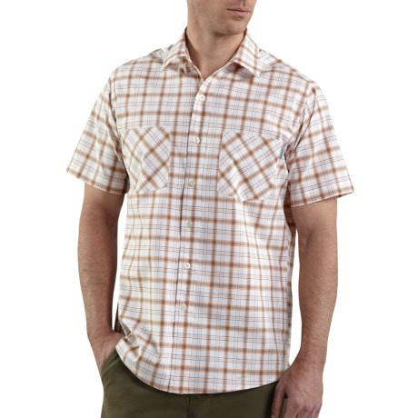 Carhartt Cotton Plaid Shirt - Lightweight, Short Sleeve (For Men) in Tangerine