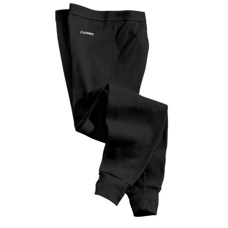 Carhartt Cotton Thermal Base Layer Bottoms - Factory Seconds (For Tall Men) in Blk Black