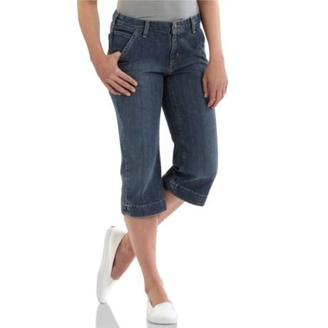 Carhartt Cropped Denim Jeans - Original Fit, 5-Pocket (For Women) in Faded Indigo