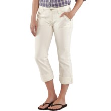 Carhartt Curvy Fit Tomboy Capris - Stretch Denim, Mid Rise (For Women) in Antique White - 2nds