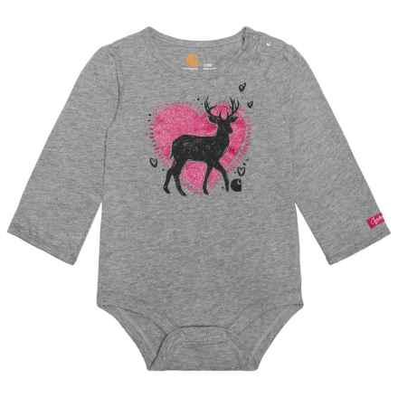 Carhartt Deer Love Baby Bodysuit - Long Sleeve (For Infants) in Dark Grey - Closeouts