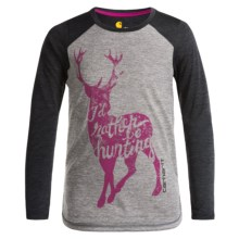 Carhartt Deer Shirt - Long Sleeve (For Big Girls) in Charcoal Grey Heather - Closeouts
