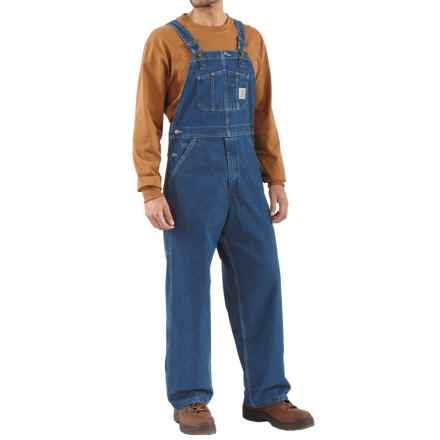 Carhartt Denim Bib Overalls - Unlined, Factory Seconds (For Big Men) in Dark Stone Wash - 2nds