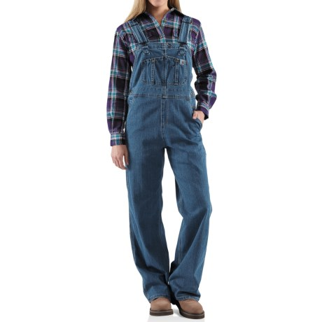 Carhartt Denim Bib Overalls - Unlined (For Women) in Faded Blue Indigo
