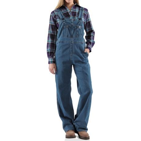 Carhartt Denim Bib Overalls - Unlined (For Women) in Faded Blue Indigo