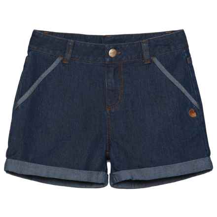 Carhartt Denim Shorts (For Little Girls) in Blue Wash - Closeouts