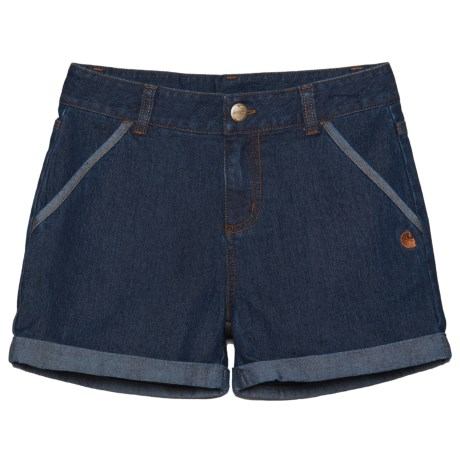 Carhartt Denim Shorts (For Little Girls) in Blue Wash