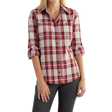 Carhartt Dodson Plaid Shirt - Roll-Up Long Sleeve, Factory Seconds (For Women) in Dark Red - 2nds