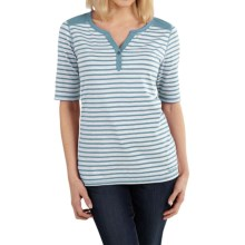 Carhartt Dorena Henley T-Shirt - Elbow Sleeve (For Women) in Coast Blue Heather - 2nds