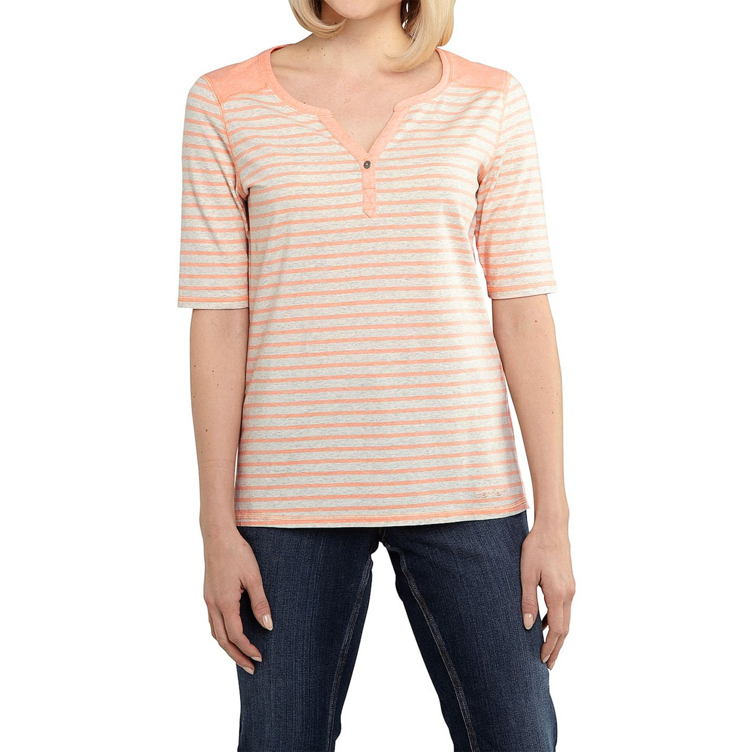 The Soft & Sexy Henley T-Shirt takes the womens Henley shirts and gives them the Soft & Sexy treatment with a soft jersey material made from rayon and elastane. This gives the top just a touch of stretch while having a soft, slinky feel.