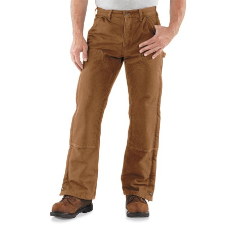 Carhartt Double Front Sandstone Canvas Pants - Insulated (For Men) in Black