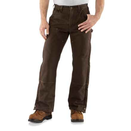 Carhartt Double Front Sandstone Canvas Pants - Insulated (For Men) in Dark Brown - 2nds