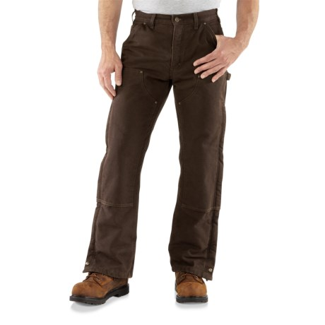 Carhartt Double Front Sandstone Canvas Pants - Insulated (For Men) in Dark Brown