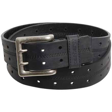 Carhartt Double-Perforated Leather Belt (For Men) in Black - Closeouts