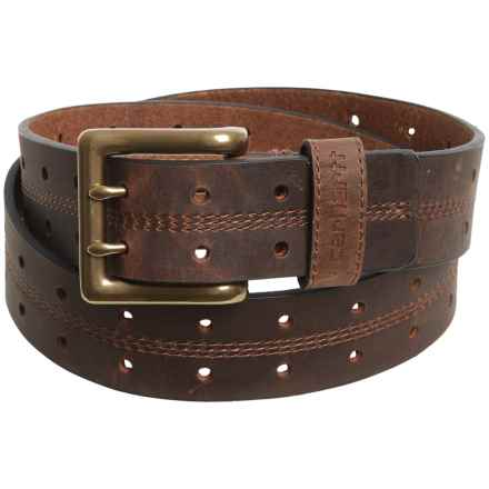 Carhartt Double-Perforated Leather Belt (For Men) in Brown - Closeouts