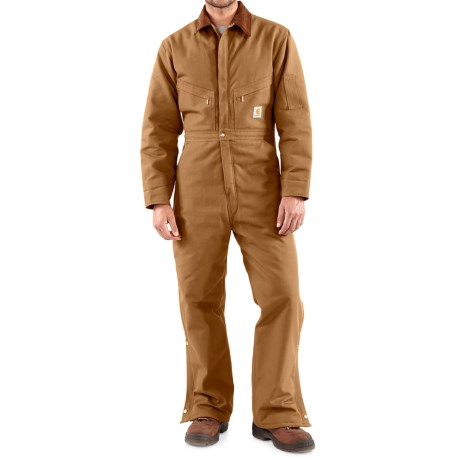 Carhartt Duck Coveralls - Quilt Lined, Factory Seconds (For Tall Men) in Carhartt Brown