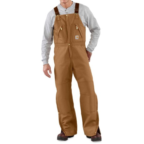 Carhartt Duck Zip-to-Thigh Bib Overalls - Factory Seconds (For Big and Tall Men) in Carhartt Brown