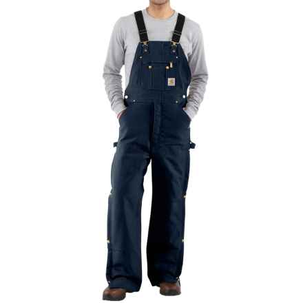 Carhartt Duck Zip-to-Thigh Bib Overalls - Factory Seconds (For Big and Tall Men) in Dark Navy - 2nds