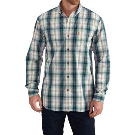 Carhartt Essential Plaid Shirt - Relaxed Fit, Long Sleeve (For Big and Tall Men) in Stream Blue - Closeouts