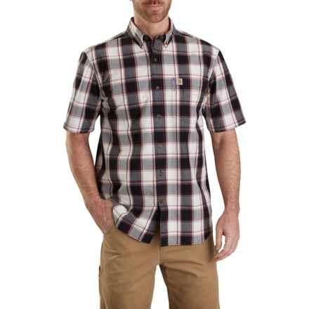 Carhartt Essential Plaid Shirt - Short Sleeve (For Men) in Black - Closeouts