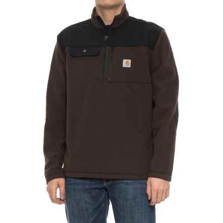 Carhartt Fallon Zip Neck Fleece Pullover Sweater (For Men) in Dark Brown - Closeouts