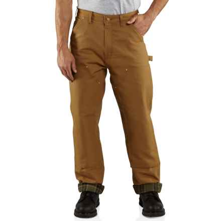 Carhartt Firm Duck Double-Front Dungaree Pants - Flannel Lined, Factory Seconds (For Men) in Carhartt Brown - 2nds