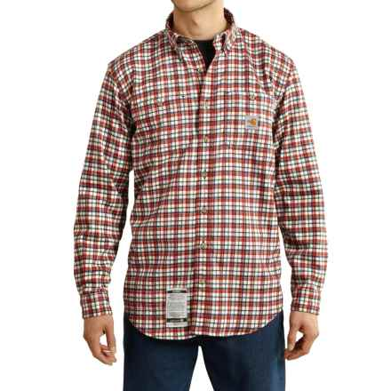 Carhartt Flame-Resistant Classic Plaid Shirt - Long Sleeve (For Big and Tall Men) in Dark Crimson - 2nds