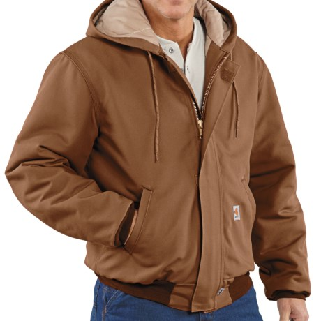 Carhartt Flame-Resistant Duck Active Jacket - Quilt-Lined (For Men) in Carhartt Brown