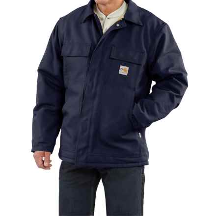Carhartt Flame-Resistant Duck Traditional Coat - Quilt-Lined, Factory Seconds (For Big and Tall Men) in Dark Navy - 2nds
