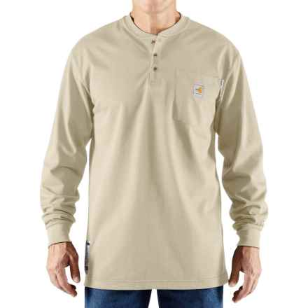 Carhartt Flame-Resistant Force® Cotton Henley Shirt - Long Sleeve (For Big and Tall Men) in Sand - Closeouts