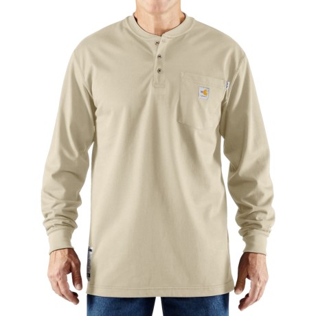 Carhartt Flame-Resistant Force® Cotton Henley Shirt - Long Sleeve (For Big and Tall Men) in Sand