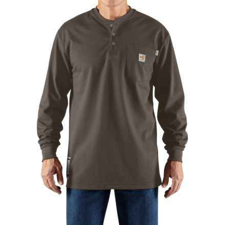 Carhartt Flame-Resistant Force® Cotton Henley Shirt - Long Sleeve (For Men) in Moss - Closeouts