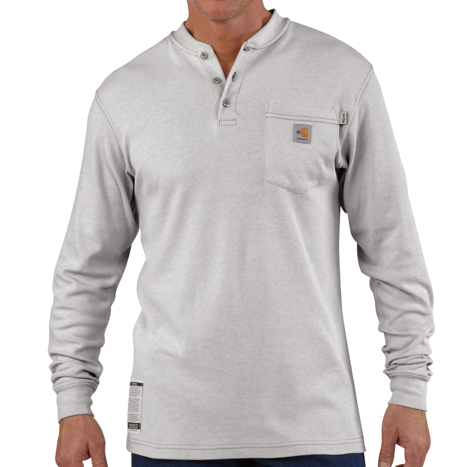 Carhartt flame resistant henley shirt long sleeve for for Big and tall long sleeve shirts
