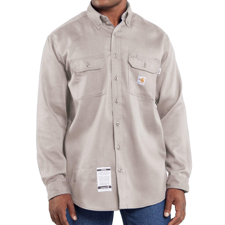 Carhartt flame resistant lightweight twill shirt long for Carhartt men s long sleeve lightweight cotton shirt