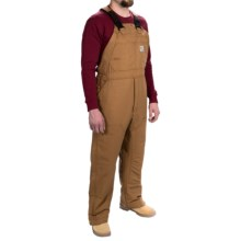 Carhartt Flame-Resistant Quilt-Lined Canvas Bib Overalls - Insulated (For Men) in Carhartt Brown - 2nds