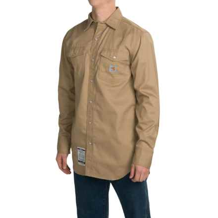 Carhartt Flame-Resistant Snap-Front Shirt - Long Sleeve (For Men) in Khaki - 2nds