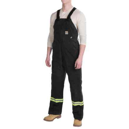 Carhartt Flame-Resistant Striped Duck Bib Overalls - Insulated (For Men) in Black - 2nds
