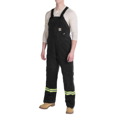 Carhartt Flame-Resistant Striped Duck Bib Overalls - Insulated (For Men) in Black